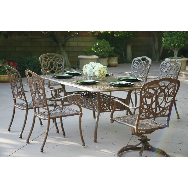 Dolby 7 Piece Metal Frame Dining Set with Cushions by Astoria Grand