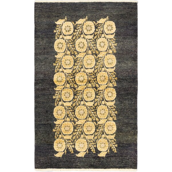 Kadyn Hand-Knotted Black/Yellow Area Rug by World Menagerie