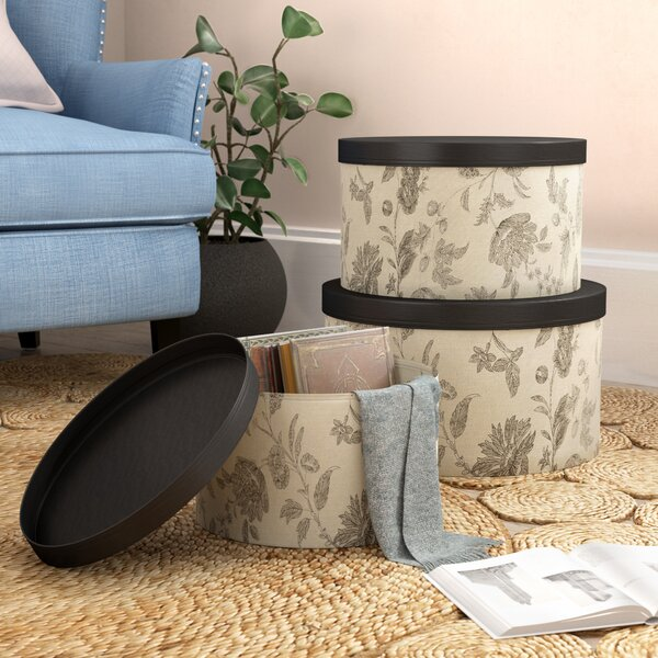 3 Piece Beige Hat Box Set with Faux Leather Lids by Lark Manor