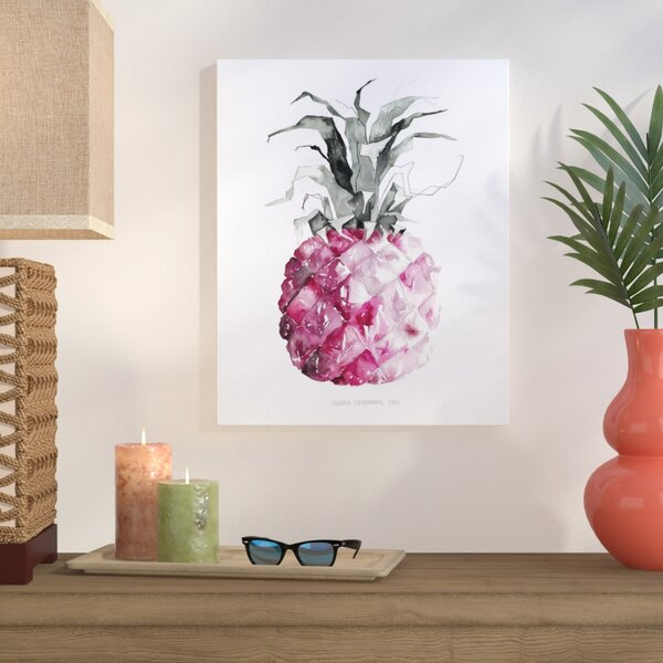 Pineapple Pink Painting Print on Wrapped Canvas by Bay Isle Home