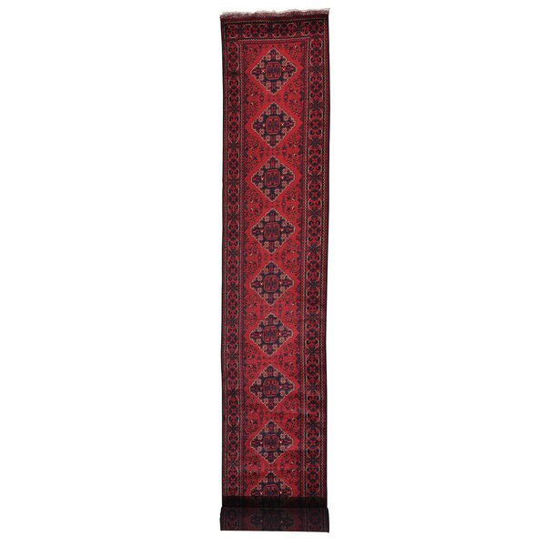 One-of-a-Kind Dorcey Afghan Khamyab Hand-Knotted Wool Red Area Rug by Canora Grey