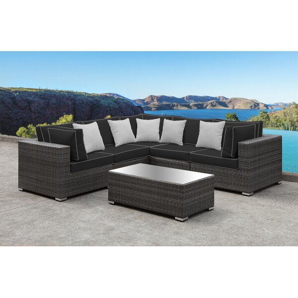 Yeager 5 Piece Sectional Seating Group with Cushions by Orren Ellis