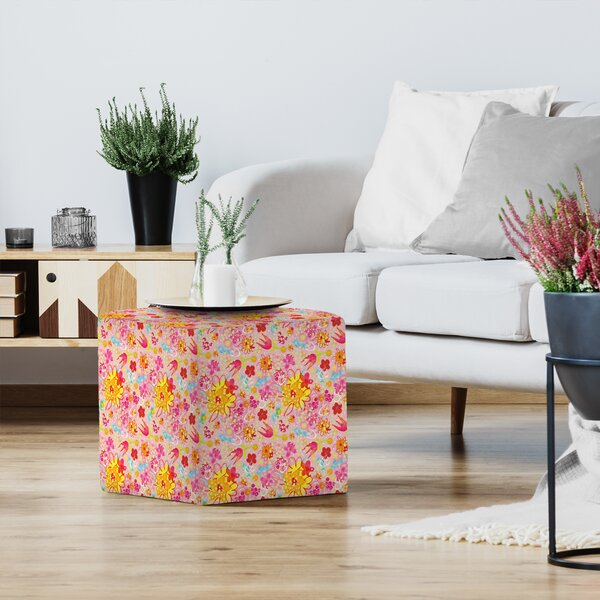 Kristine Lombardi Floral Pink Pop Floral Standard Ottoman By East Urban Home