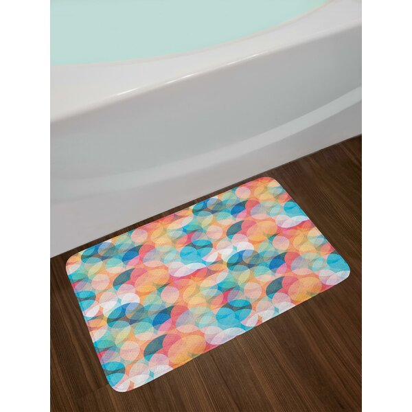 Soft Toned Hazy Overlap Circles Mosaic Birthday Party Pastel Design Bath Rug by East Urban Home