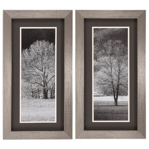 Black and White Trees 2 Piece Framed Photographic Print Set by Three Posts