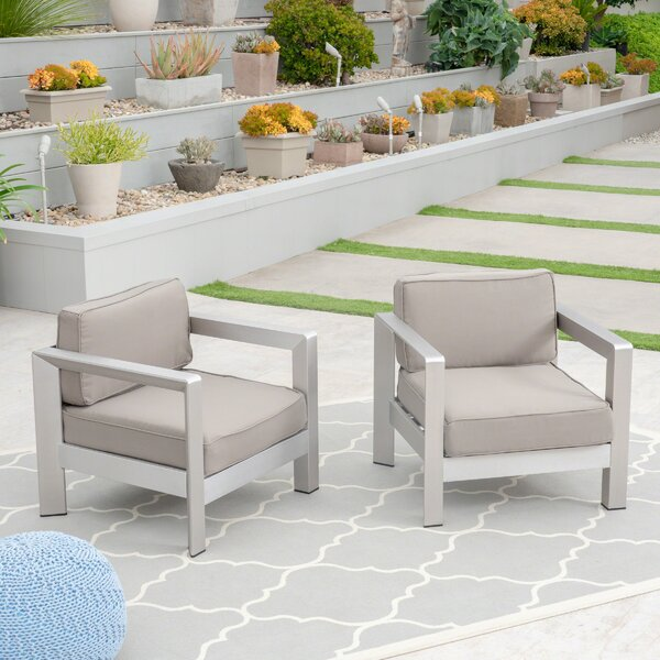 Banning Patio Chair with Cushions (Set of 2) by Orren Ellis
