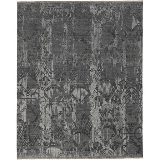 Wabe Hand-Knotted Gray/Charcoal Area Rug by Bungalow Rose