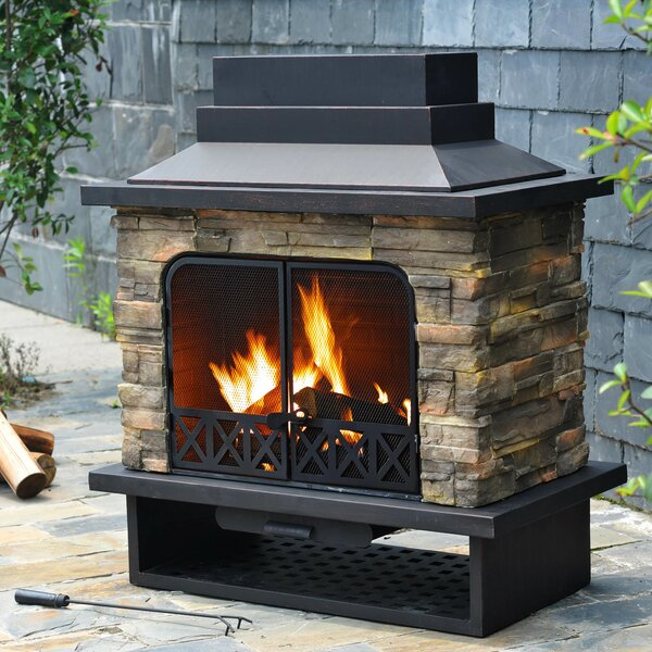 Felicia Steel Wood Burning Outdoor Fireplace by Sunjoy