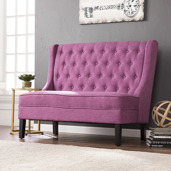 Halpin High-Back Settee Upholstered Bench by Alcott Hill Alcott Hill