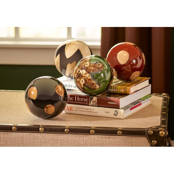 4 Piece Ceramic Decorative Ball Sculpture Set by Three Posts