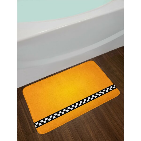Taxi Orange White and Black Yellow Bath Rug by East Urban Home
