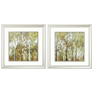 'Birch Grove' 2 Piece Framed Painting Print Set by Red Barrel Studio
