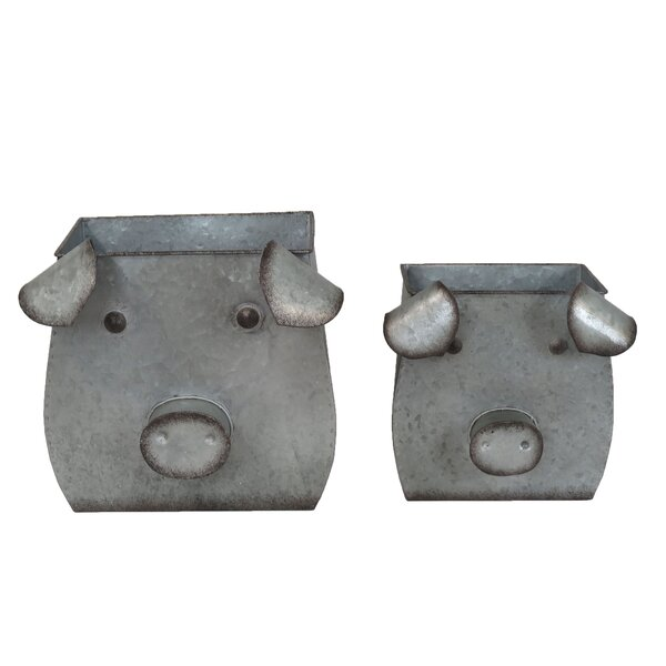 Ellard Decorative Tin Pig 2 Piece Iron Pot Planter Set by August Grove