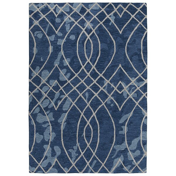 Konrad Natural Elliptic Motif Trellis Hand-Tufted Wool Navy Area Rug by Latitude Run