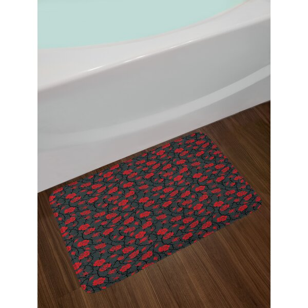 Rose Red and Black Bath Rug by East Urban Home