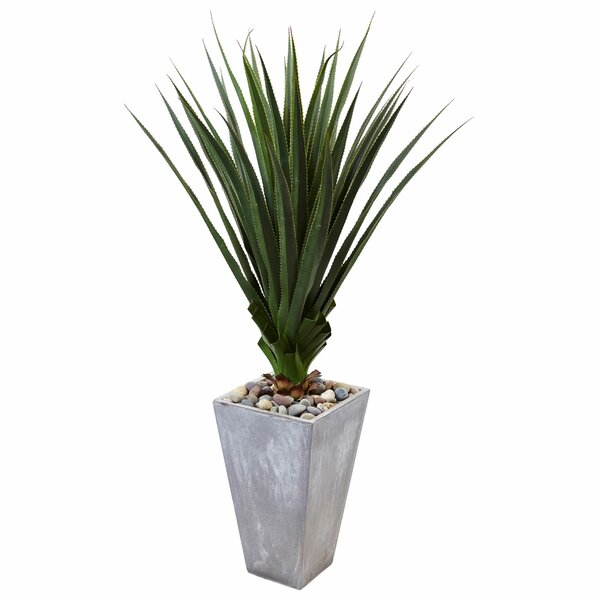 Artificial Spiked Floor Agave Plant in Planter by Orren Ellis