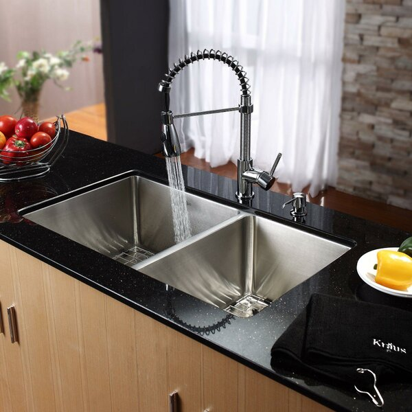 32.75 L x 19 W Double Basin Undermount Kitchen Sink with Faucet and Soap Dispenser by Kraus