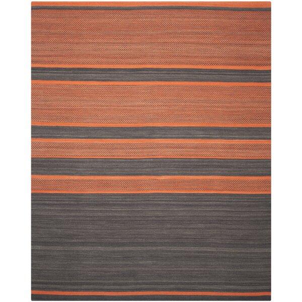 Kilim Hand Woven Cotton Grey/Orange Area Rug by Safavieh
