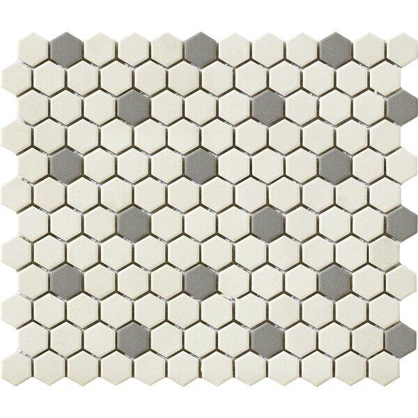 Urban 1 x 1 Porcelain Mosaic Tile in Off-White/Grey Hexagon by Walkon Tile