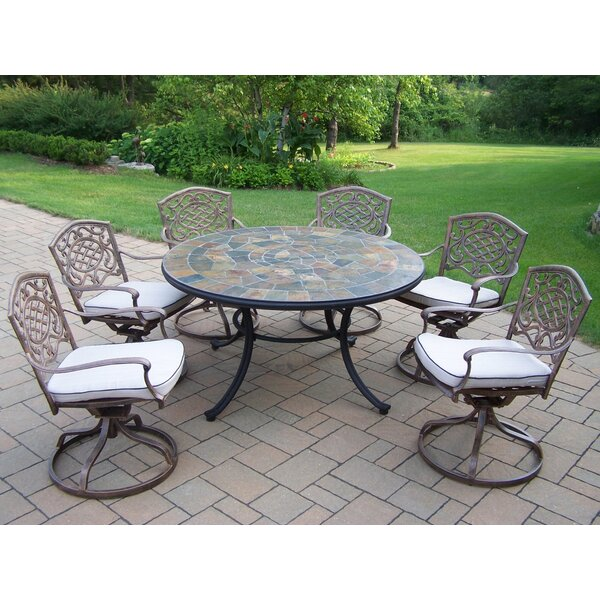 Tuscany Stone Art Swivel Chair Dining Set by Oakland Living