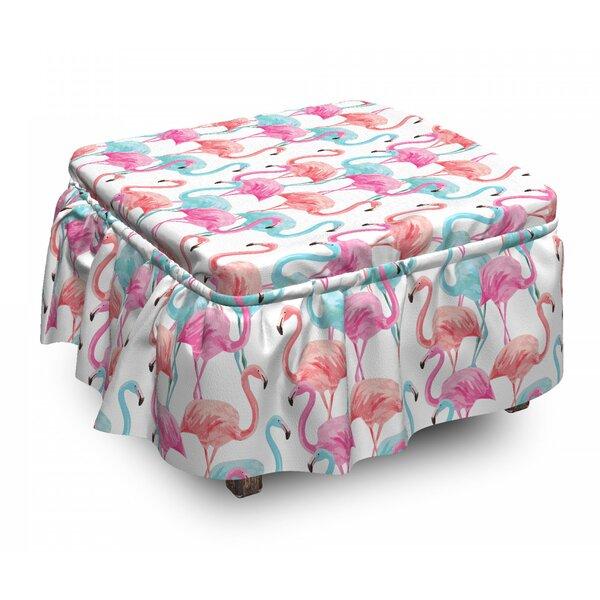 Hawaii Flamingos 2 Piece Box Cushion Ottoman Slipcover Set By East Urban Home