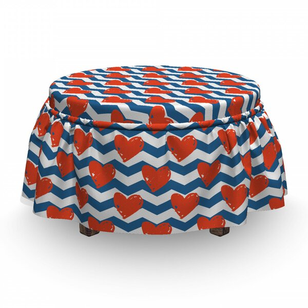 Valentine's Day Grunge Ottoman Slipcover (Set Of 2) By East Urban Home