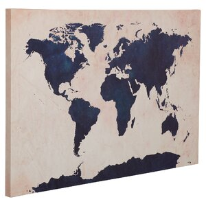 Two-Toned World Map' Framed Graphic Art Print on Canvas by Trent Austin Design