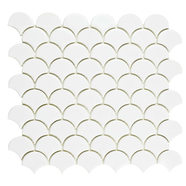 Esamo 11.25 x 12 Glass Mosaic Tile in White by EliteTile