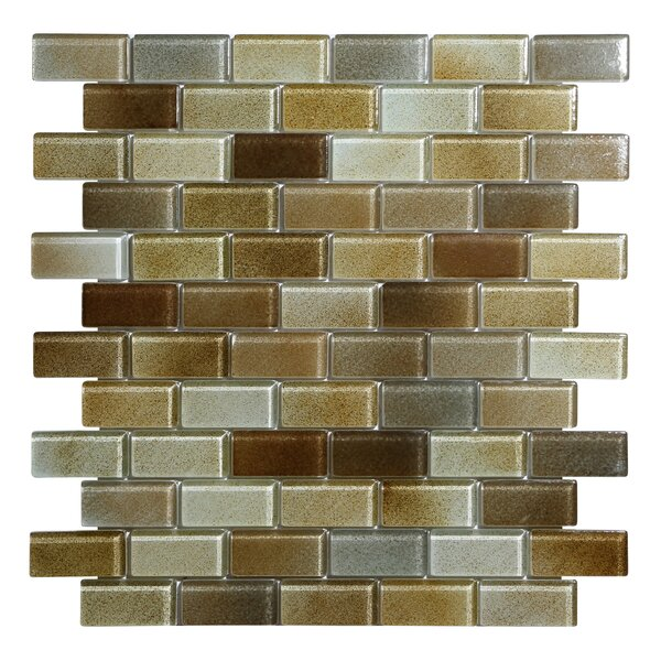 Hi-Fi Offset Brick 1 x 2 Glass Mosaic Tile in Warm Brown/Beige/Off White by Kellani