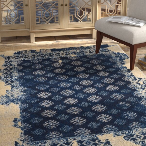 Freetown Distressed Vintage Inspired Navy/Beige Area Rug by Bungalow Rose