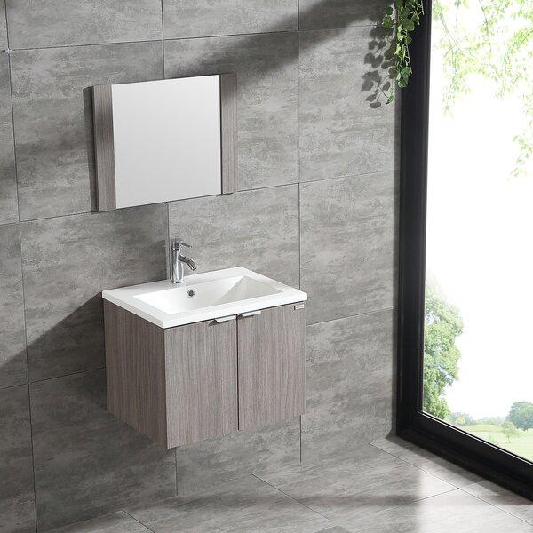 Bethea 24'' Wall Mount Single Bathroom Vanity Set with Mirror