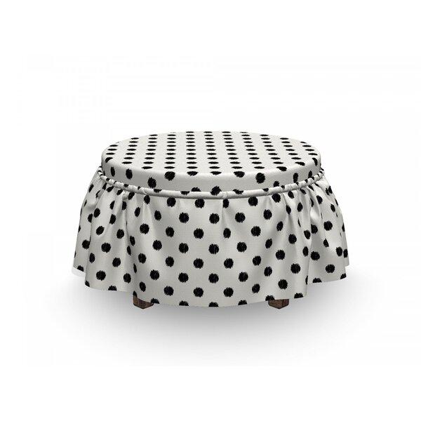 Geometric Large Polka Dots 2 Piece Box Cushion Ottoman Slipcover Set By East Urban Home