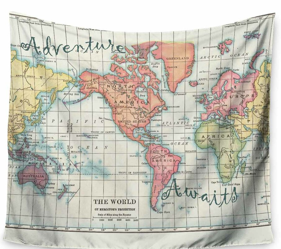 East urban home catherine holcombe adventure awaits world map catherine holcombe adventure awaits world map tapestry and wall hanging gumiabroncs Image collections