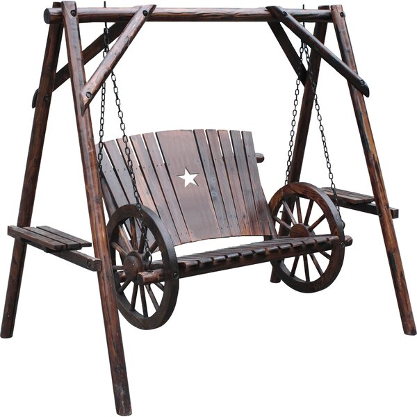 Char-Log Wagon Wheel Porch Swing with Stand by Williston Forge Williston Forge