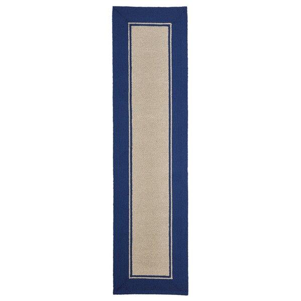 Elam Border Hand-Woven Blue/Beige Indoor/Outdoor Area Rug by Breakwater Bay