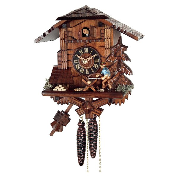 Weight-Driven Wood Cuckoo Wall Clock by Loon Peak