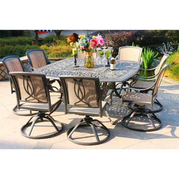 Barbieri Aluminum 9 Piece Dining Set by Canora Grey