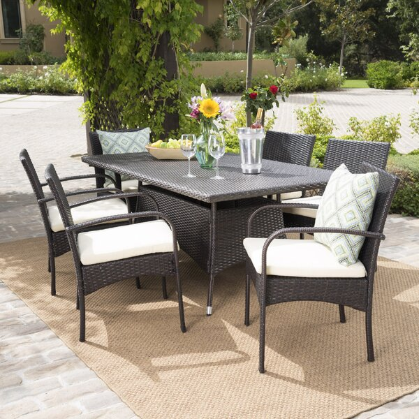 Emmeline 7 Piece Dining Set with Cushion by Highland Dunes