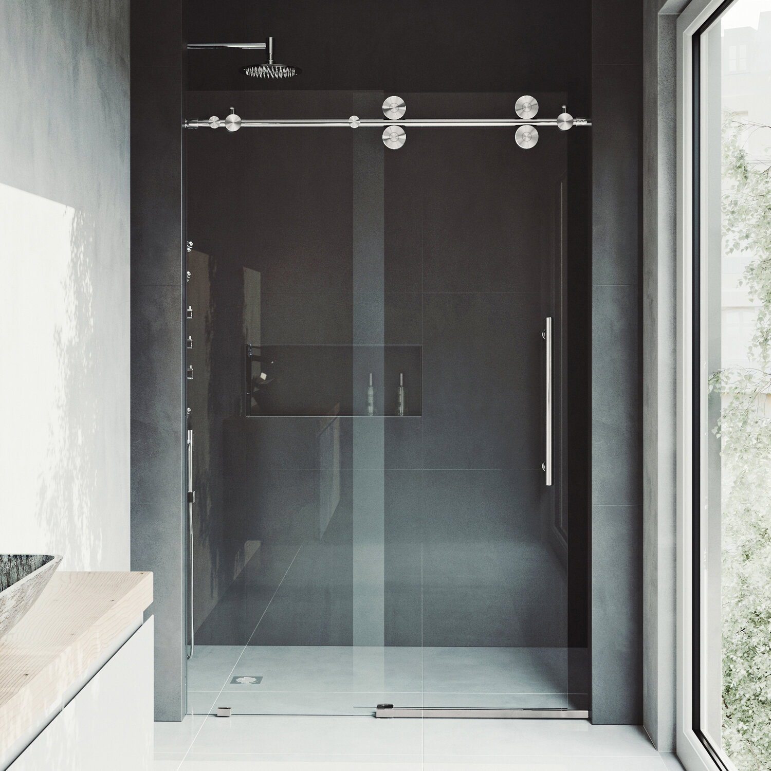 Elan 60 X 74 Single Sliding Frameless Shower Door With Rollerdisk Technology