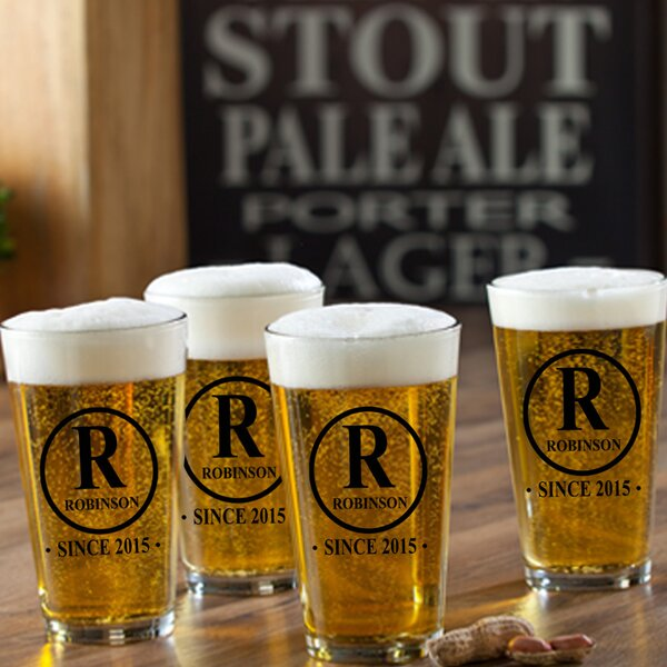 Initial Personalized 16 oz. Pub Glass (Set of 4) b