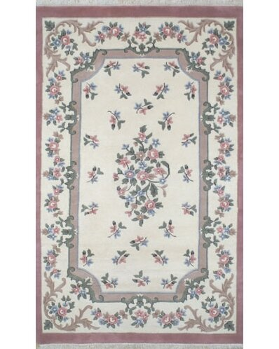 French Country Aubusson Ivory/Rose Floral Area Rug by American Home Rug Co.