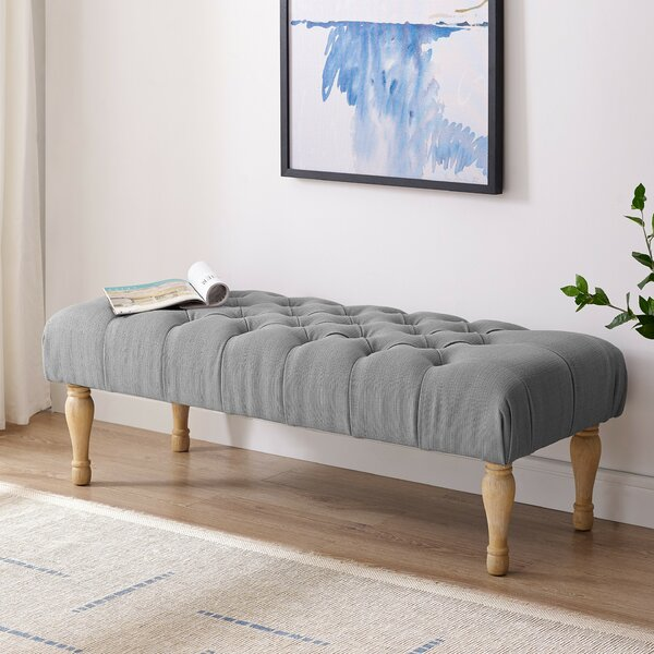 Puente Upholstered Button Tufted Turned Leg Bench By One Allium Way