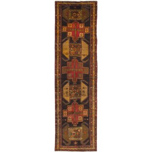 One-of-a-Kind Meshkin Hand-Knotted Runner 3'4 x 12'6 Wool Black/Red Area Rug by ECARPETGALLERY