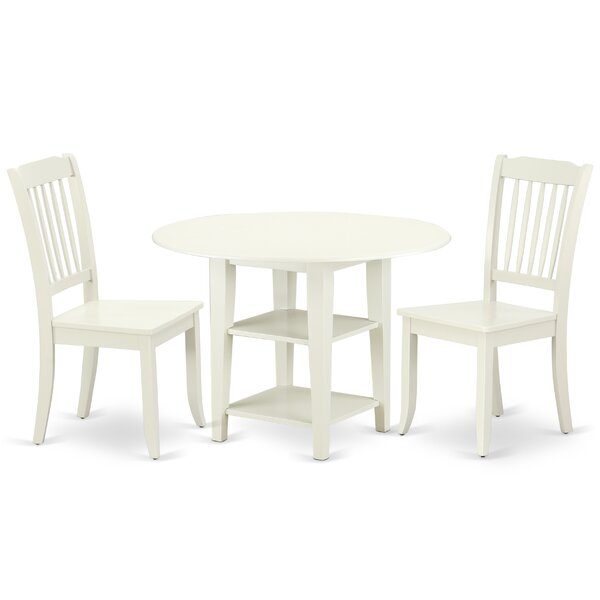 Kugler 3 Piece Drop Leaf Solid Wood Dining Set by August Grove