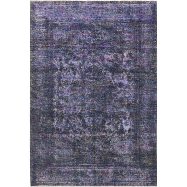 One-of-a-Kind Dubon-Claros Hand-Knotted Wool Purple Indoor Area Rug by Bloomsbury Market