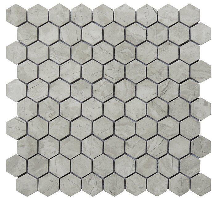Intrend Tile Hexagon 0 75 X 0 75 Limestone Natural Stone Blend Mosaic Tile In Gray Wayfair