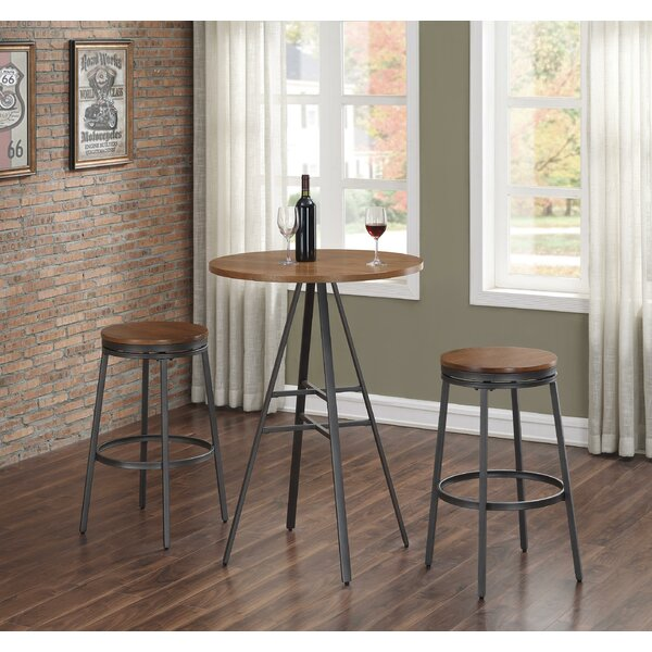 Pierce 3 Piece Pub Table Set with Backless Swivel Stools by Wrought Studio Wrought Studio