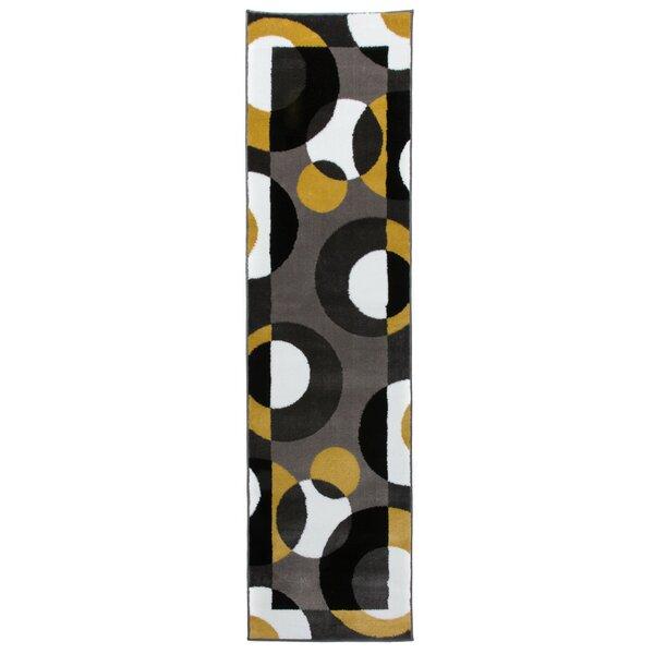 Nava Modern Circles Gray/Yellow Area Rug by Ebern Designs