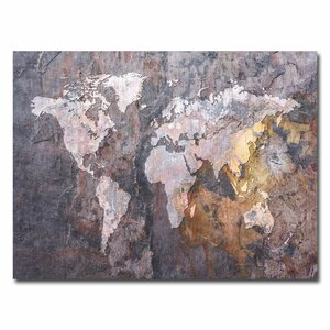 'World Map - Rock' by Michael Tompsett Graphic Art on Canvas by Trademark Fine Art