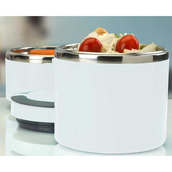 2 Tier Round Twist Stainless Steel Food Storage Container by Rebrilliant